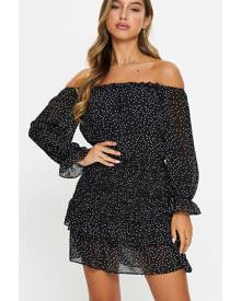 Polka Dot Off Shoulder Shirred Mini Dress - Ally Fashion