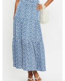 Floral Print Belted Tiered Midi Maxi Skirt - Ally Fashion