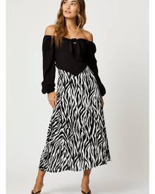 High Waist Animal Print Slip Midi Skirt - Ally Fashion