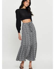Floral Print Belted Tiered Midi Skater Skirt - Ally Fashion