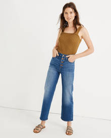 Madewell Slim Wide-Leg Jeans in Olympia Wash: Button-Front Edition