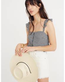 MW Ruffle-Strap Cami Top in Gingham Check
