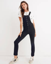 MW Skinny Overalls in Black Frost: Button-Front Edition