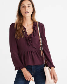MW Silk Ruffle-Hem Wrap Top
