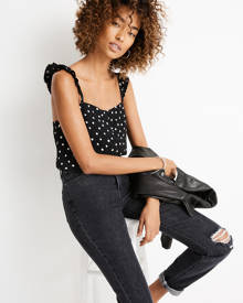 MW Ruffle-Strap Cami Top in Painted Dots