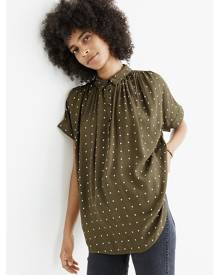 Madewell Central Drapey Popover Shirt in Grid Dot