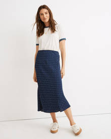 MW Midi Slip Skirt in Polka Dot