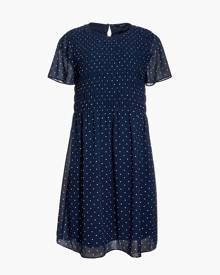MW Georgette Smock-Top Mini Dress in Polka Dot