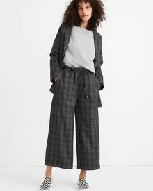 MW Glen Plaid Knit Wide-Leg Crop Pants