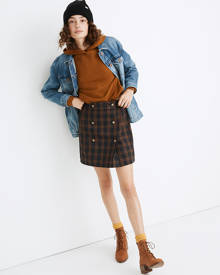 MW Plaid Double-Breasted Mini Skirt