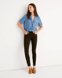 """MW 9"""" Mid-Rise Skinny Jeans: Garment-Dyed Button-Front Edition"""