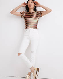 MW The Perfect Vintage Crop Jean in Tile White: Knee-Rip Edition