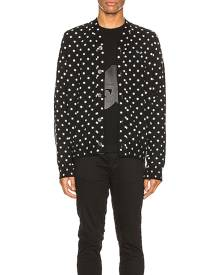 Comme Des Garcons PLAY Dot Print Wool Cardigan with Black Emblem in Black & Natural - Black,Polka Dots. Size L (also in M, S, XL
