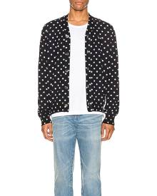 Comme Des Garcons PLAY Dot Print Wool Cardigan with Black Emblem in Navy & Natural - Blue,Polka Dots. Size L (also in M, S, XL).
