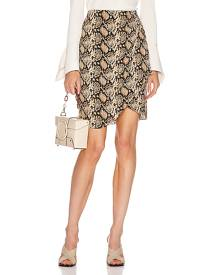 NILI LOTAN Hazel Skirt in Dark Brown Snake Print - Animal Print,Brown,Neutral. Size 8 (also in ).