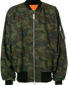 Unravel Project - camouflage print bomber jacket  - men - Polyester/Polyurethane/Cotton/Polyamide - 46 - Green
