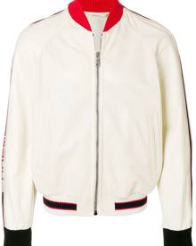 Gucci - Perforated bomber with Gucci logo - men - Spandex/Elastane/Polyamide/Calf Leather/Cotton - 50, 48, 54 - NEUTRALS