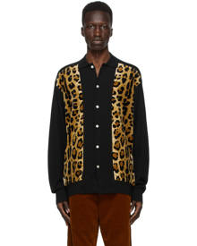 WACKO MARIA Black and Brown Leopard Polo Cardigan