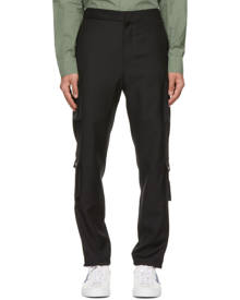 Givenchy Black Wool Patch Cargo Pants