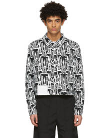 Pyer Moss Black and White Denim Guitar Print Jacket
