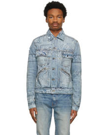 AMIRI Blue Denim Banada Print Trucker Jacket