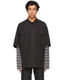 Juun.J Black Jersey Sleeve Layered Pocket Shirt