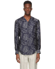 Giorgio Armani Navy and Off-White Silk Jacquard Shirt