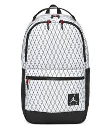 """Carry all the essentials with the Jordan Backpack, made from lightweight and durable woven fabric. It has 3 zipped front pockets with 1 organiser panel for quick access. The main compartment has enough space for holding all your gear with a sleeve for a 15.6""""laptop. Jordan Backpack (Large) - White"""