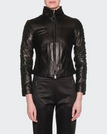 Giorgio Armani Zip-Front Lamb Leather Jacket w/ Velvet Side Stripe