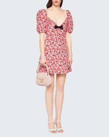 Miu Miu Botanical-Print Silk Dress w/ Bow