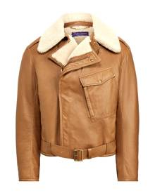 Purple Label Leather-Shearling Moto Jacket