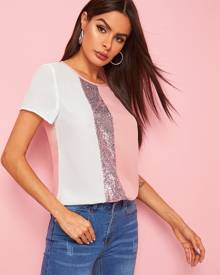 Sequin Patched Colorblock Top