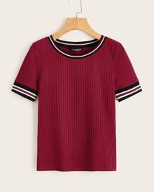 Striped Trim Rib-knit T-shirt