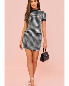 Button Front Houndstooth Bodycon Dress