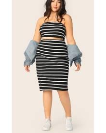 Plus Striped Bandeau Top & Pencil Skirt Set