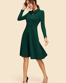 Keyhole Front Collared Flare Dress
