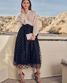 Polka Dot Mesh Overlay Skirt