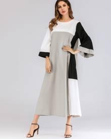 Color Block Flounce Sleeve Longline Dress