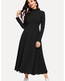 Scallop Trim Flared Hem Dress