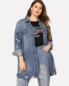 Plus Pocket Patched Ripped Denim Jacket