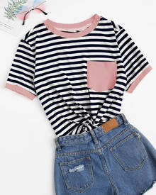 Pocket Patched Striped Ringer T-shirt