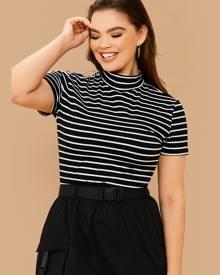 Plus Mock-Neck Short Sleeve Striped Top