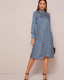 Pocket Side Allover Print Shirt Dress