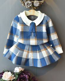 Toddler Girls Contrast Collar Plaid Sweater With Sweater Skirt