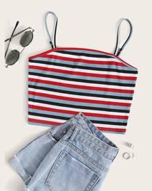 Rib-knit Striped Crop Cami Top