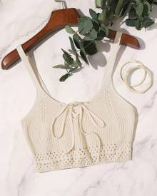 Lace-up Front Open Knit Crop Top