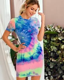 Spiral Tie Dye Bodycon Dress
