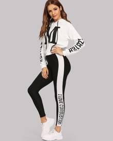 SHEIN Letter Print Hoodie and Leggings Co-ord