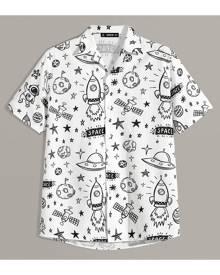 SHEIN Men Mixed Print Revere Collar Shirt