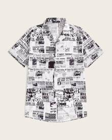 SHEIN Men Newspaper Print Revere Collar Shirt